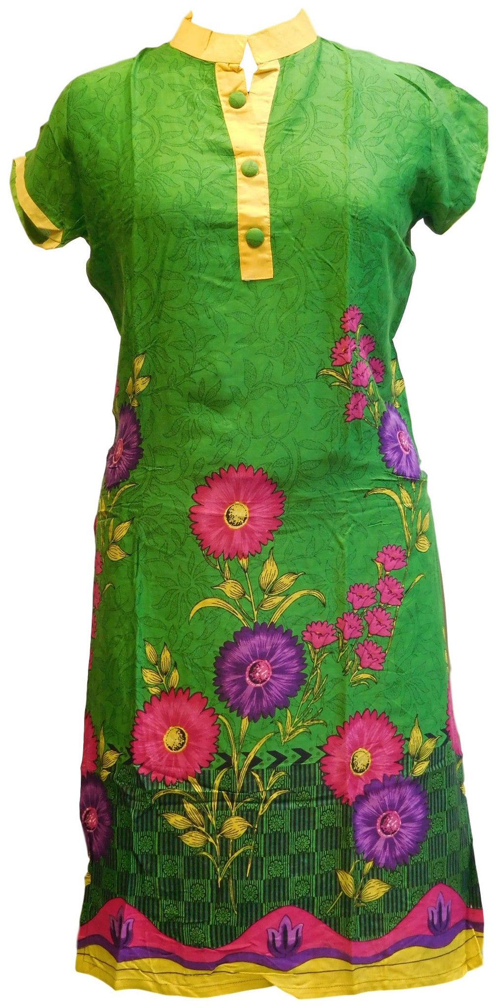 Green Designer Cotton (Chanderi) Printed Kurti With Yellow Taping