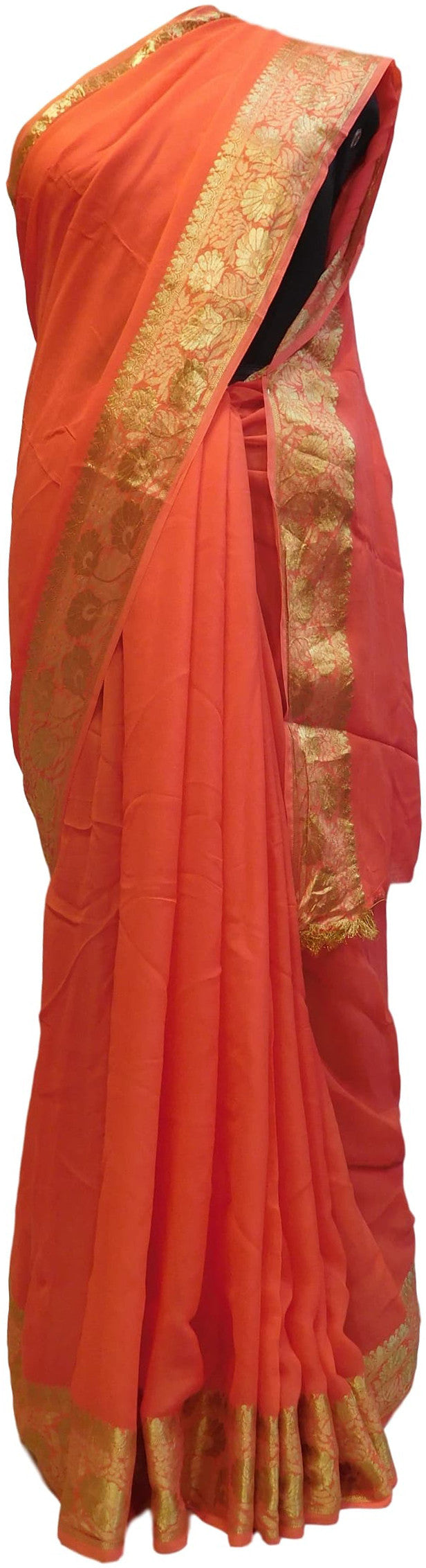 Gajari Designer Georgette (Viscos) Self Weaved Zari Border Work Saree Sari