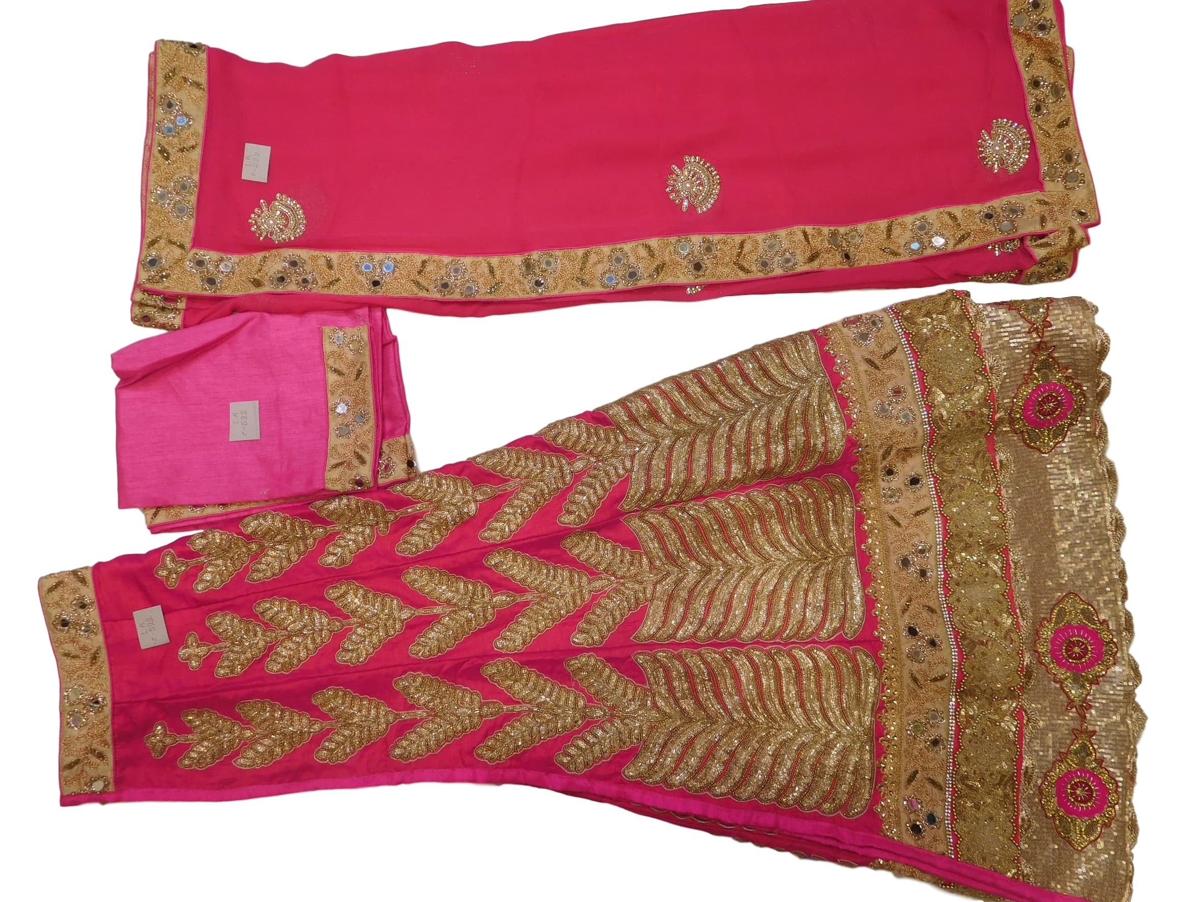 Pink Designer Raw Silk Bridal Hand Embroidery Work Lahenga With Georgette (Viscos) Dupatta & Siilk Blouse