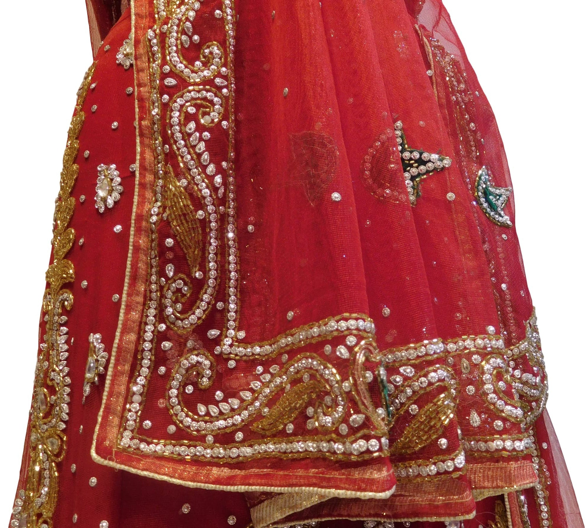 Red Designer Bridal Hand Embroidery Work Net Lahenga With Net Dupatta & Net Blouse