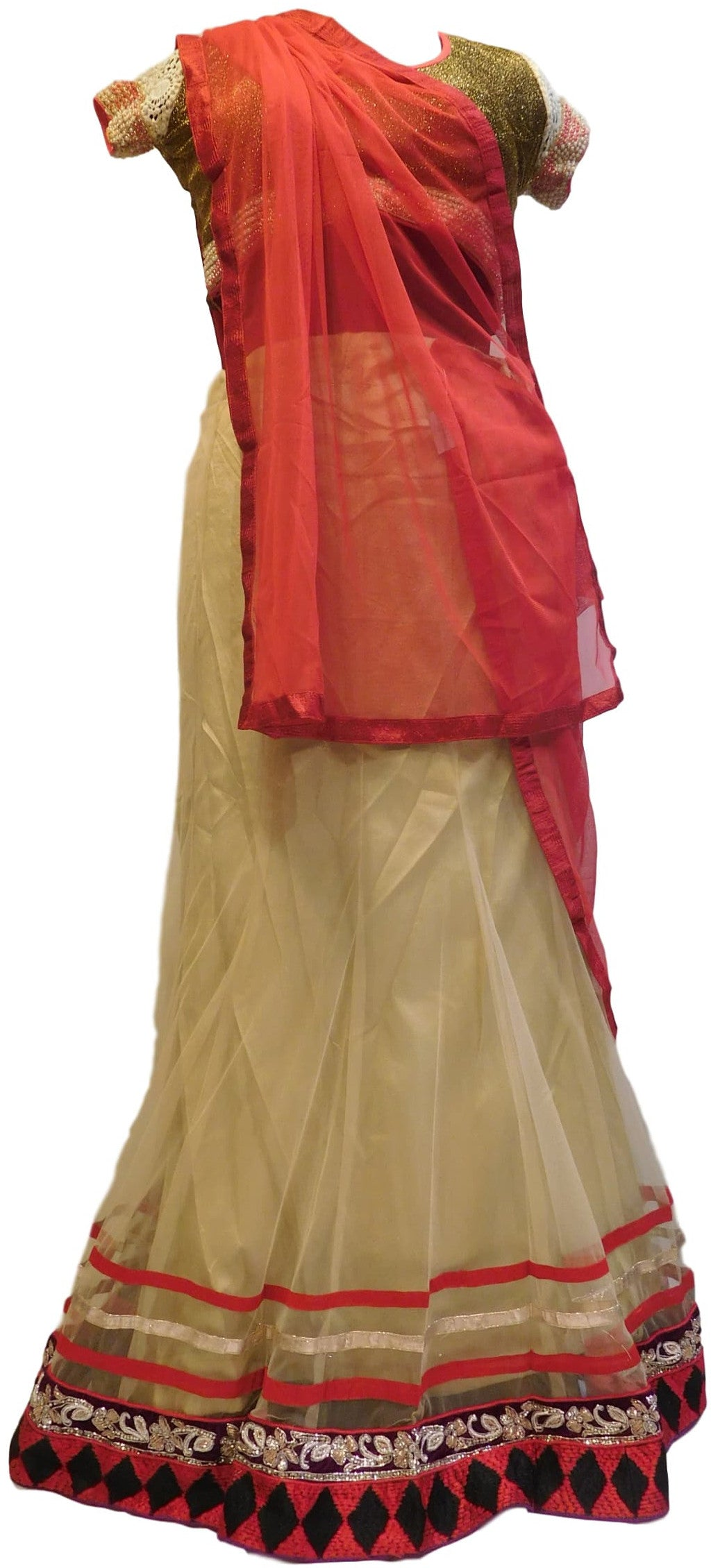 Cream & Red Designer Bridal Net Lahenga With Net Dupatta & Stylist Silk Blouse