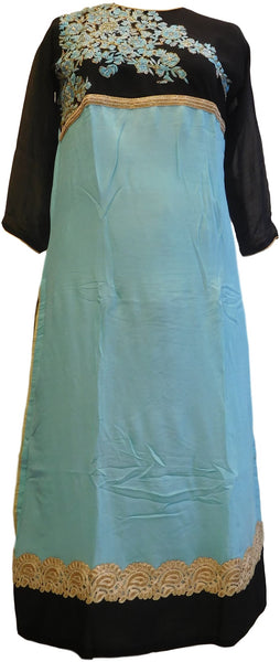 Turquoise & Black Designer Georgette (Viscos) Hand Embroidery Cutdana Bullion Pearl Thread Work Kurti Kurta