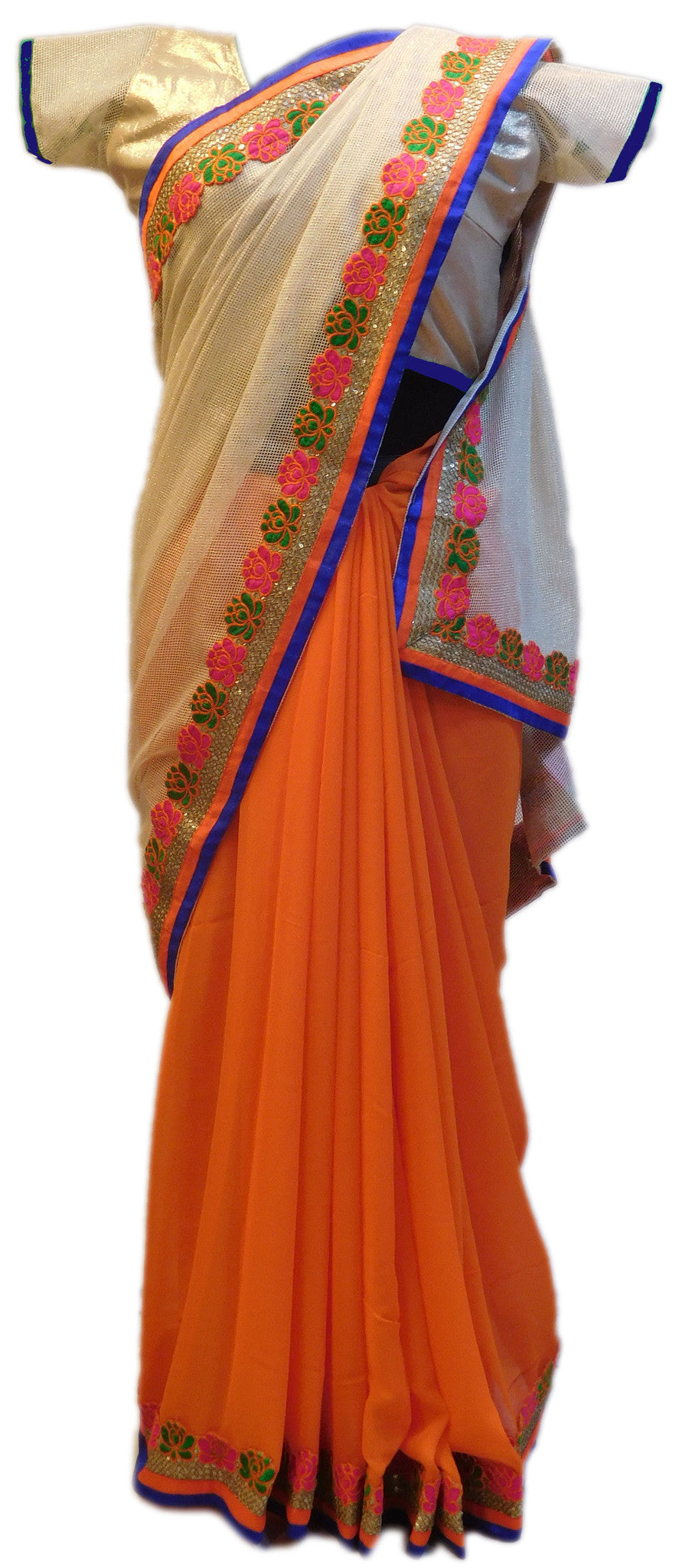 Cream Orange Designer Saree Sari With Stylish Blouse