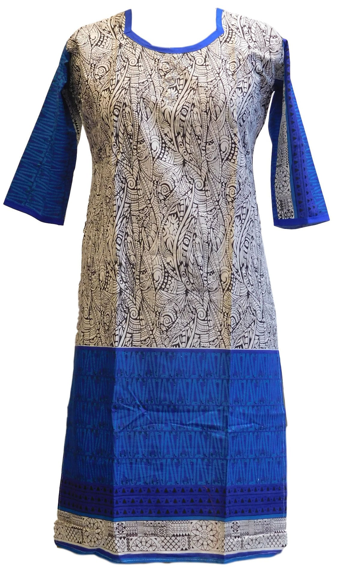 Blue, White & Black Designer Cotton (Chanderi) Printed Kurti