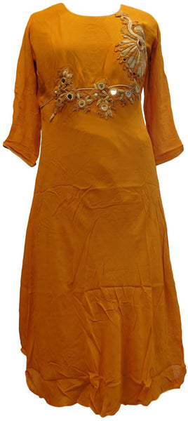 Mustard Designer Georgette (Viscos) Hand Embroidery Zari Bullion Mirror Thread Work Kurti Kurta