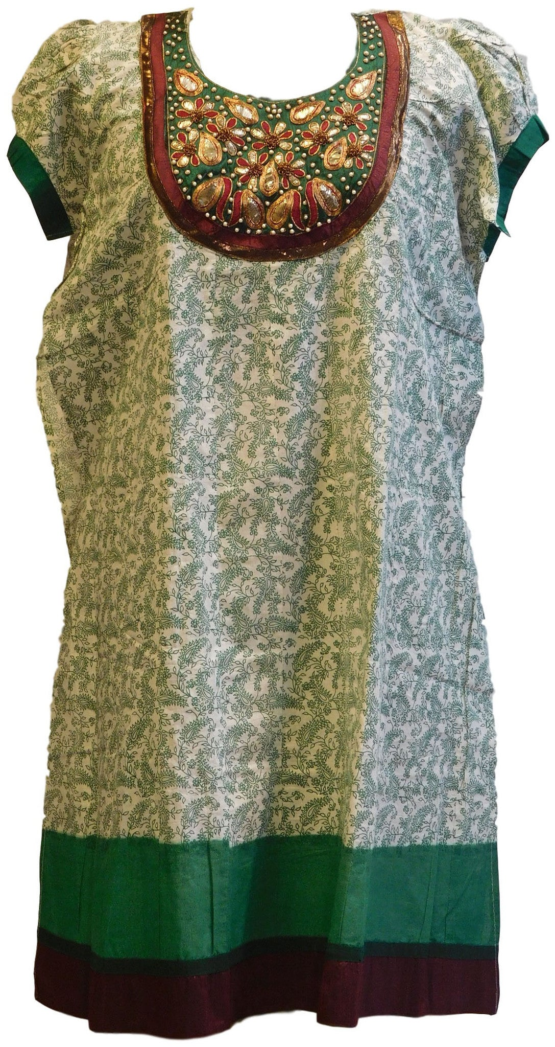 Green & White Designer Cotton (Chanderi) Printed Kurti With Heavy Hand Embroidery