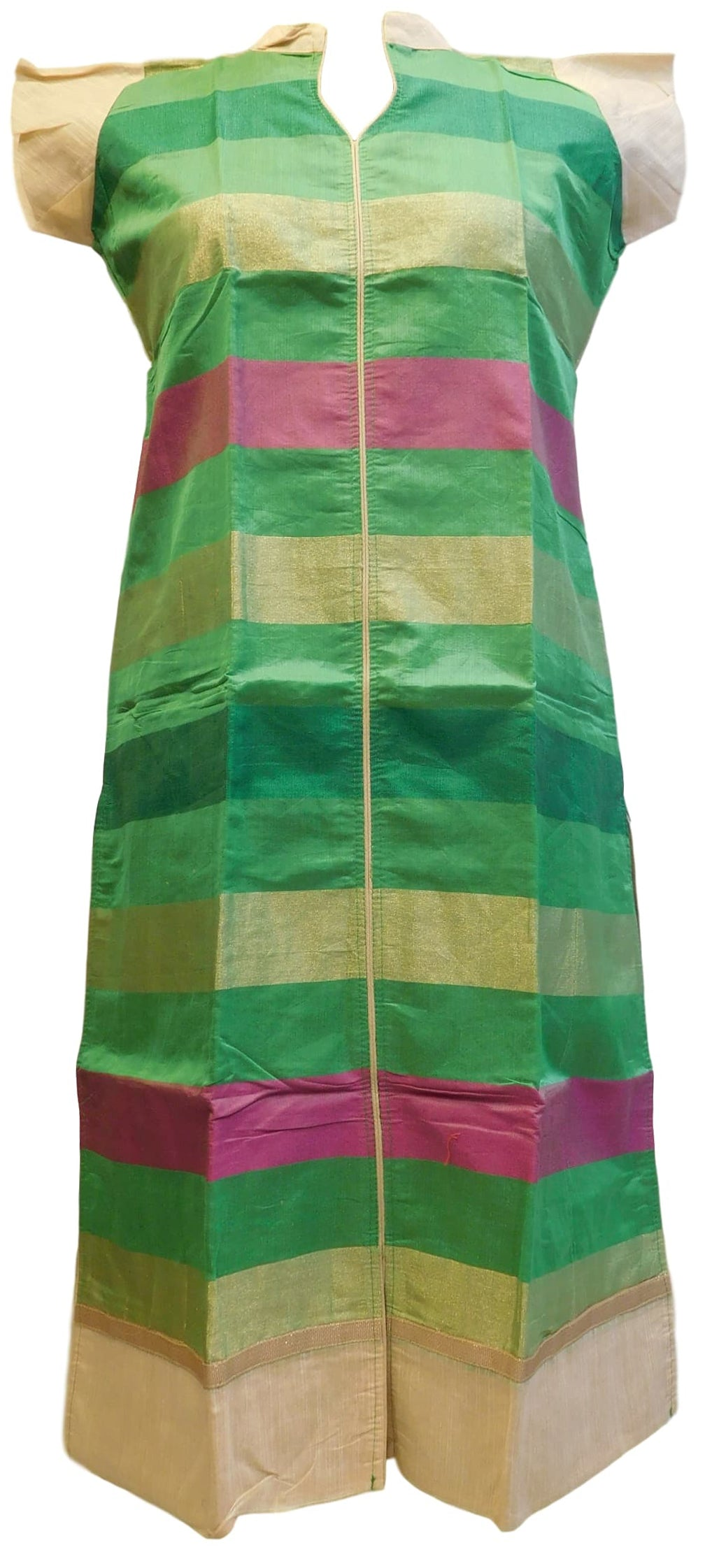 Green Golden & Pink Designer Cotton (Chanderi) Hand Embroidery Zari Work Kurti Kurta