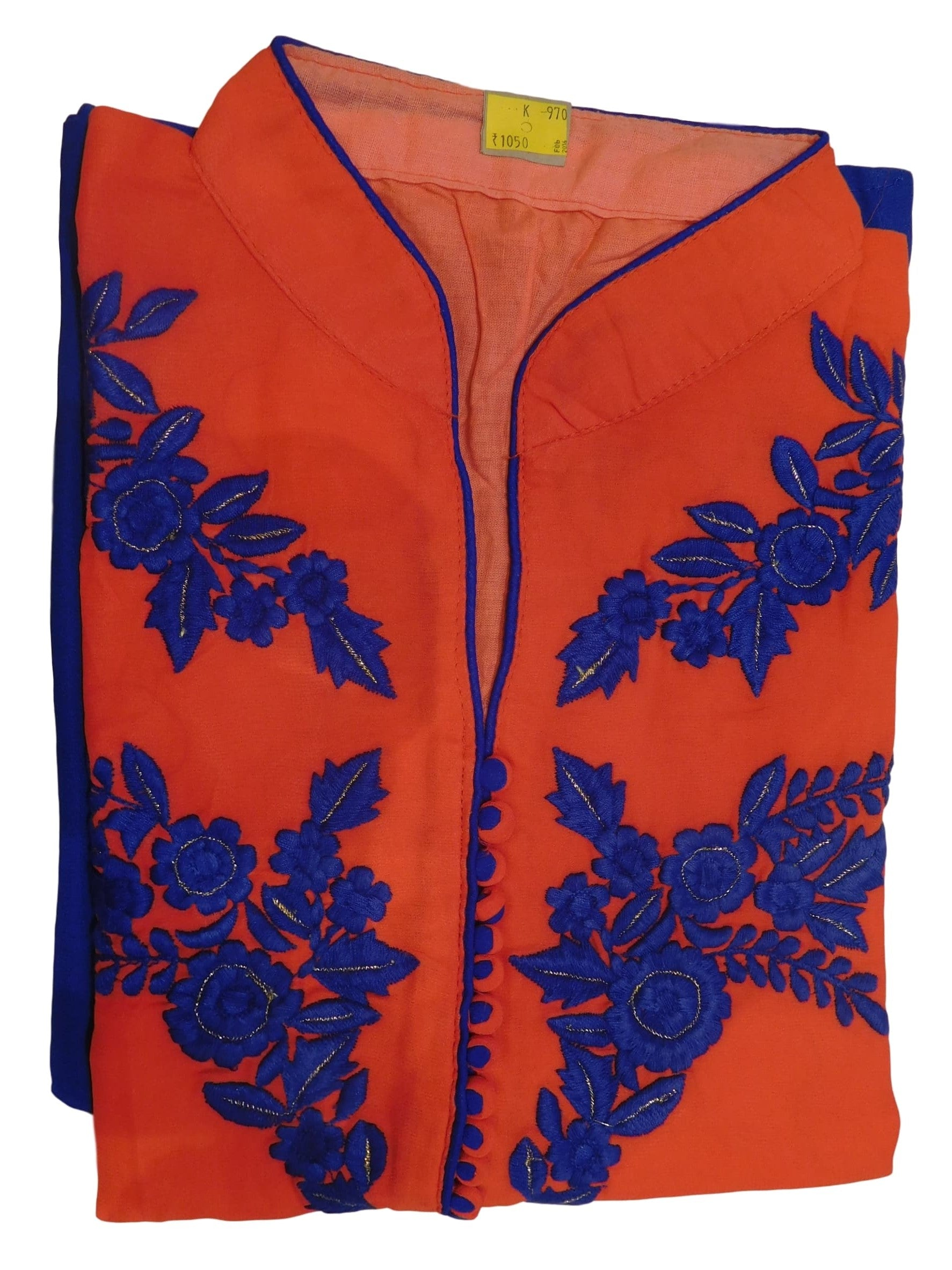 Red & Blue Designer Georgette (Viscos) Hand Embroidery Thread Work Kurti Kurta