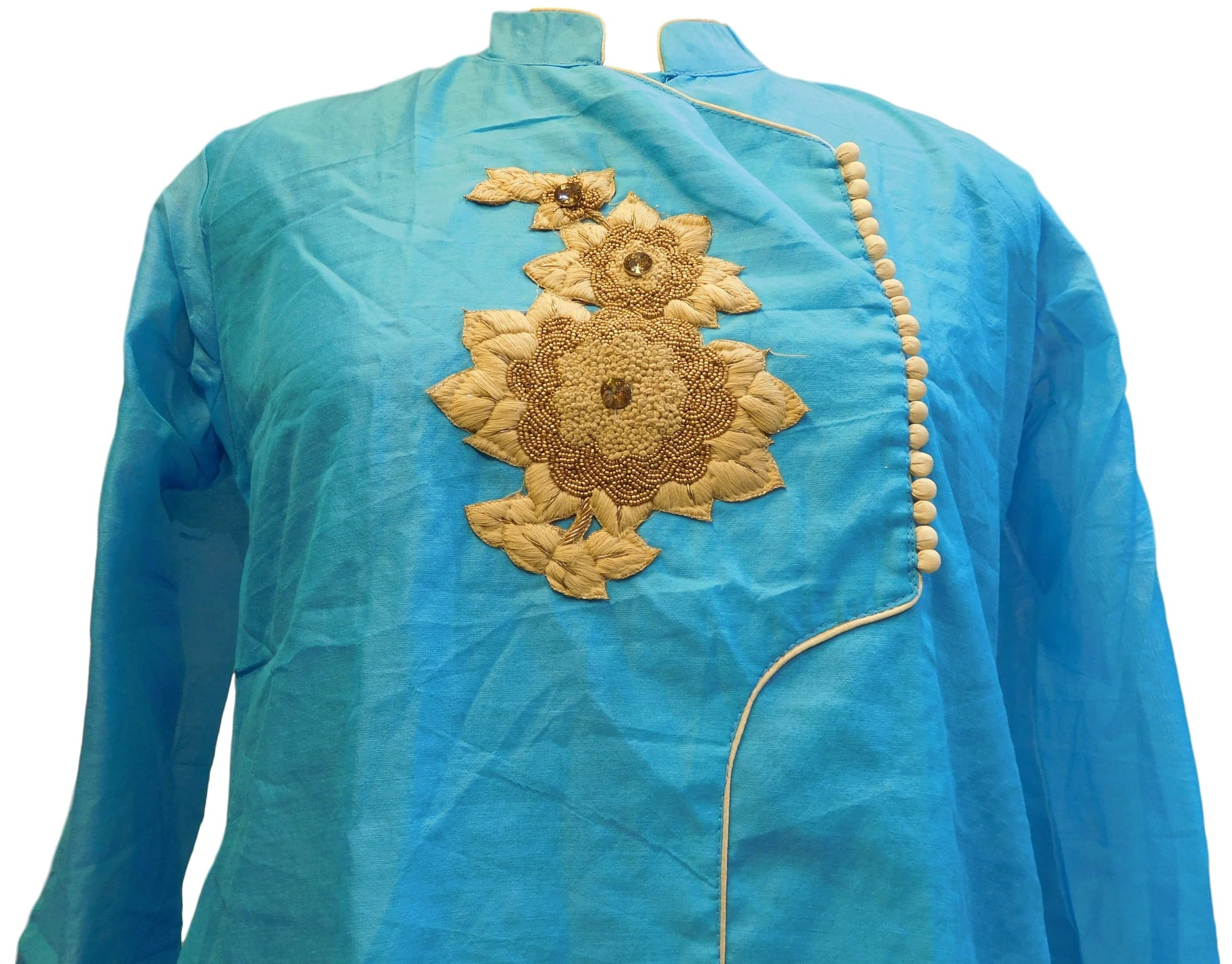 Blue Designer Cotton (Chanderi) Hand Embroidery Thread Stone Beads Work Kurti Kurta