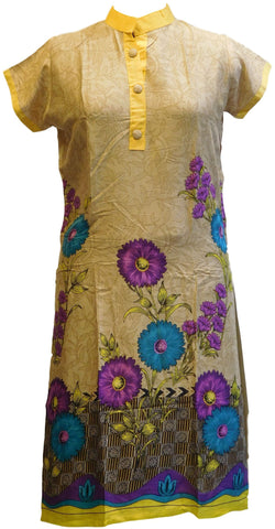 Beige Designer Cotton (Chanderi) Printed Kurti With Yellow Taping