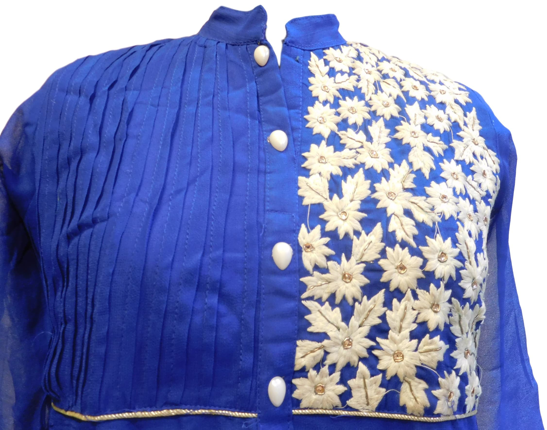 Blue Designer Georgette (Viscos) Hand Embroidery Pearl Thread Stone Bullion Work Kurti Kurta