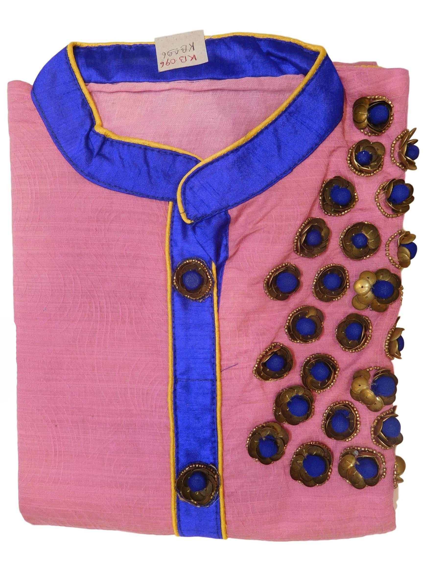 Pink Blue Designer Cotton (Chanderi) Hand Embroidery Sequence Beads Work Kurti Kurta