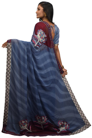 Grey & Wine Designer Pure Georgette Zari Thread Cutdana Hand Brush Printed Party Wear Sari Saree AK46S