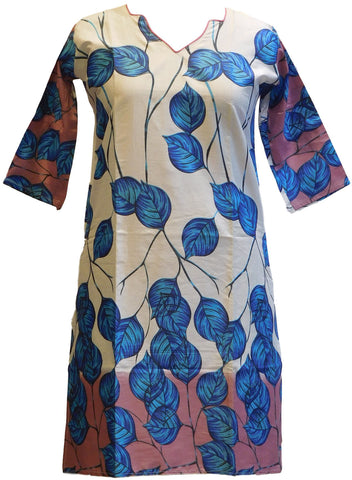 Blue & Cream Designer Cotton (Chanderi) Printed Kurti