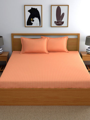 Peach Pure Cotton Double Bed Bedsheet