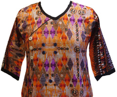 Multicolor Designer Cotton (Chanderi) Printed Kurti