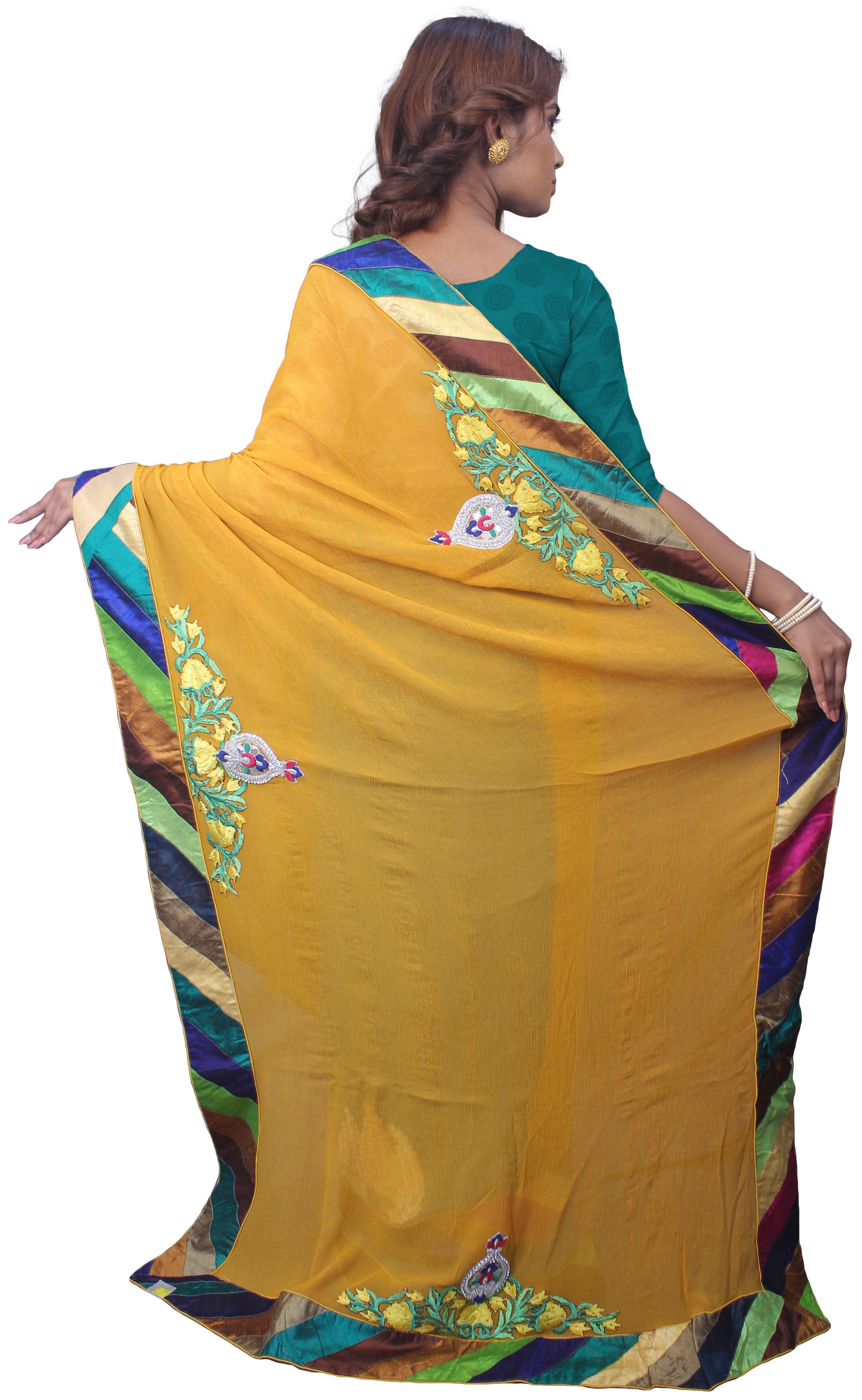 Yellow & Blue Designer Pure Chiffon Zari Thread Cutdana Hand Brush Printed Party Wear Sari Saree 51S