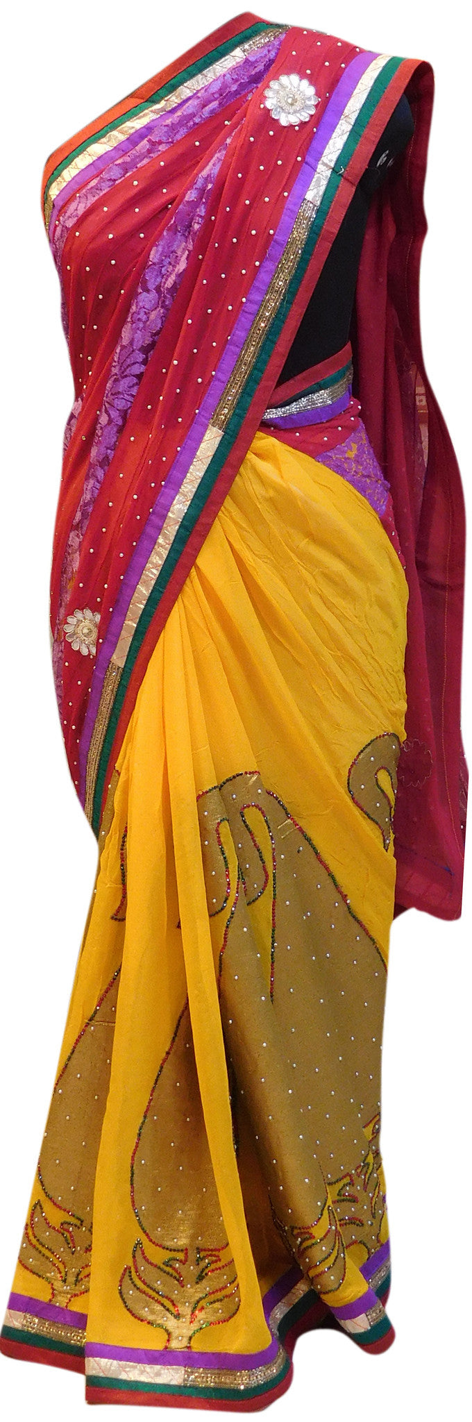 Red & Yellow Stylish Saree
