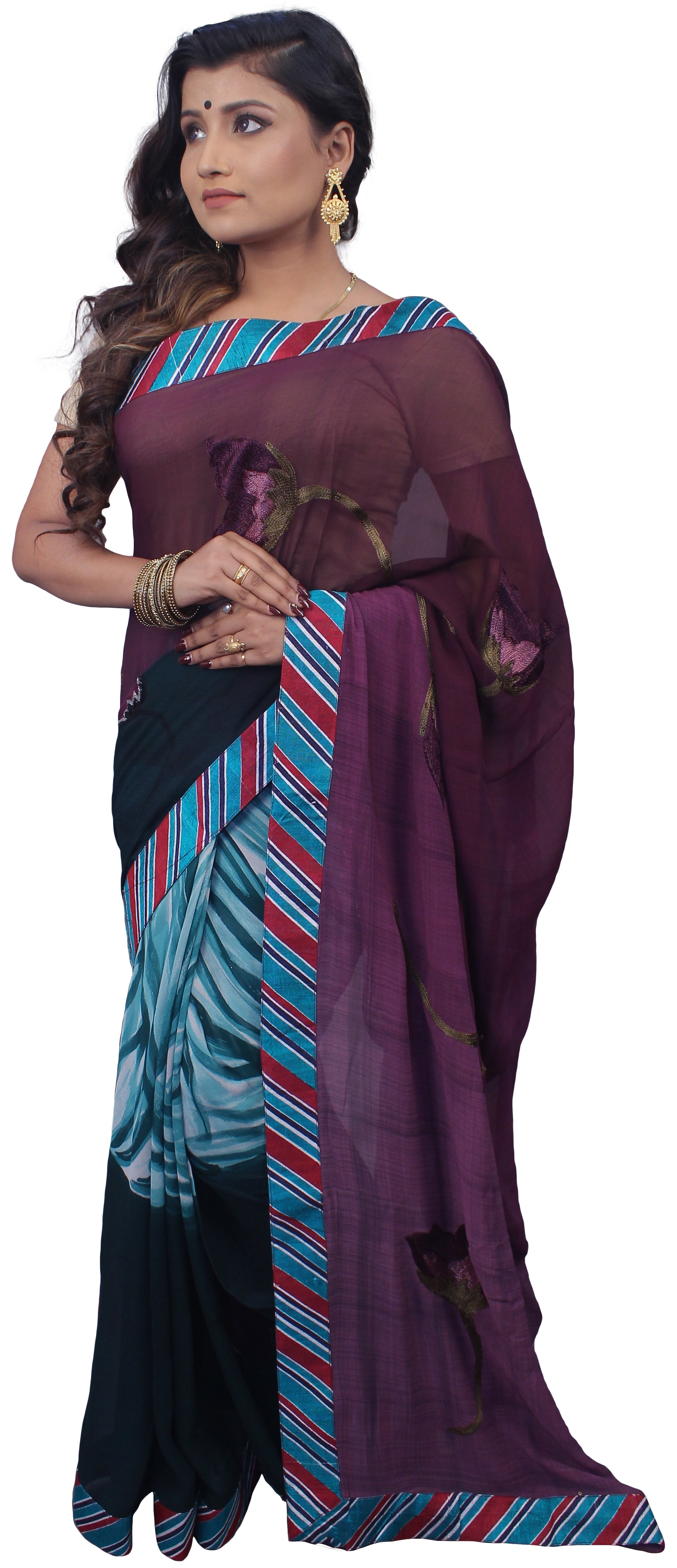 Wine & Green Designer Pure Georgette Saree