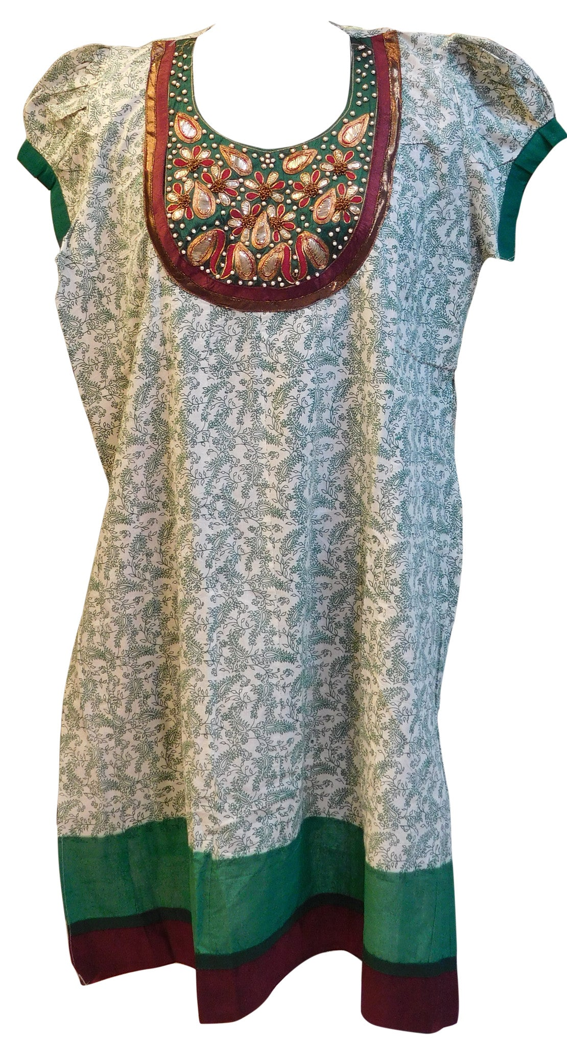 White Semi Stitched Hand Work Kurti