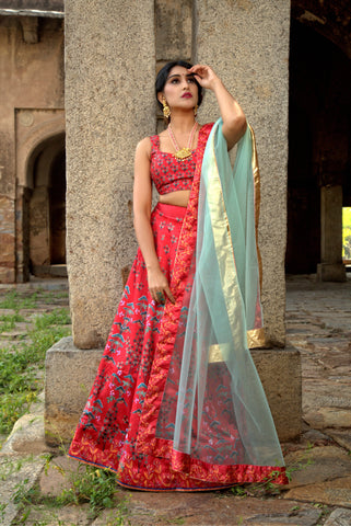 Red Designer Wedding Partywear Zari Satin Lehenga Net Dupatta & Zari Satin Blouse