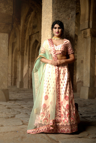 Light Pink Designer Wedding Partywear Zari Satin Lehenga Net Dupatta & Zari Satin Blouse