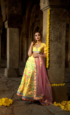 Yellow Designer Wedding Partywear Zari Satin Lehenga Net Dupatta & Zari Satin Blouse