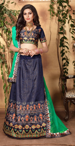 Deep Grey & Green Designer Wedding Partywear Zari Satin Lehenga Net Dupatta & Zari Satin Blouse