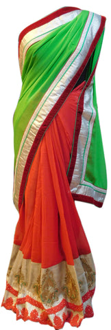 Green & Red Designer Saree