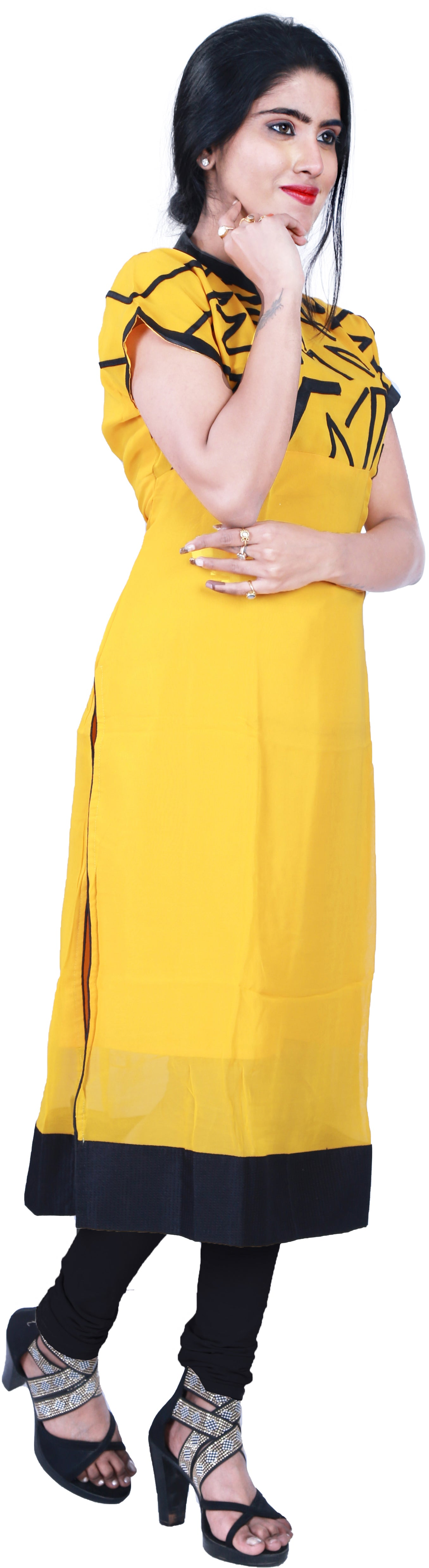 SMSAREE Yellow & Black Designer Casual Partywear Geogette Viscos Applick Hand Embroidery Work Stylish Women Kurti Kurta With Free Matching Leggings A729