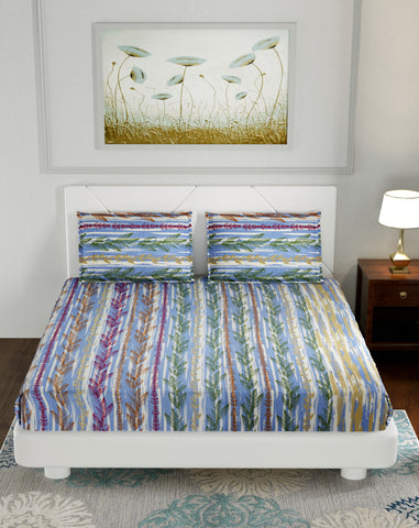 Aqua Blue Premium Cotton Double Bed Bedsheet