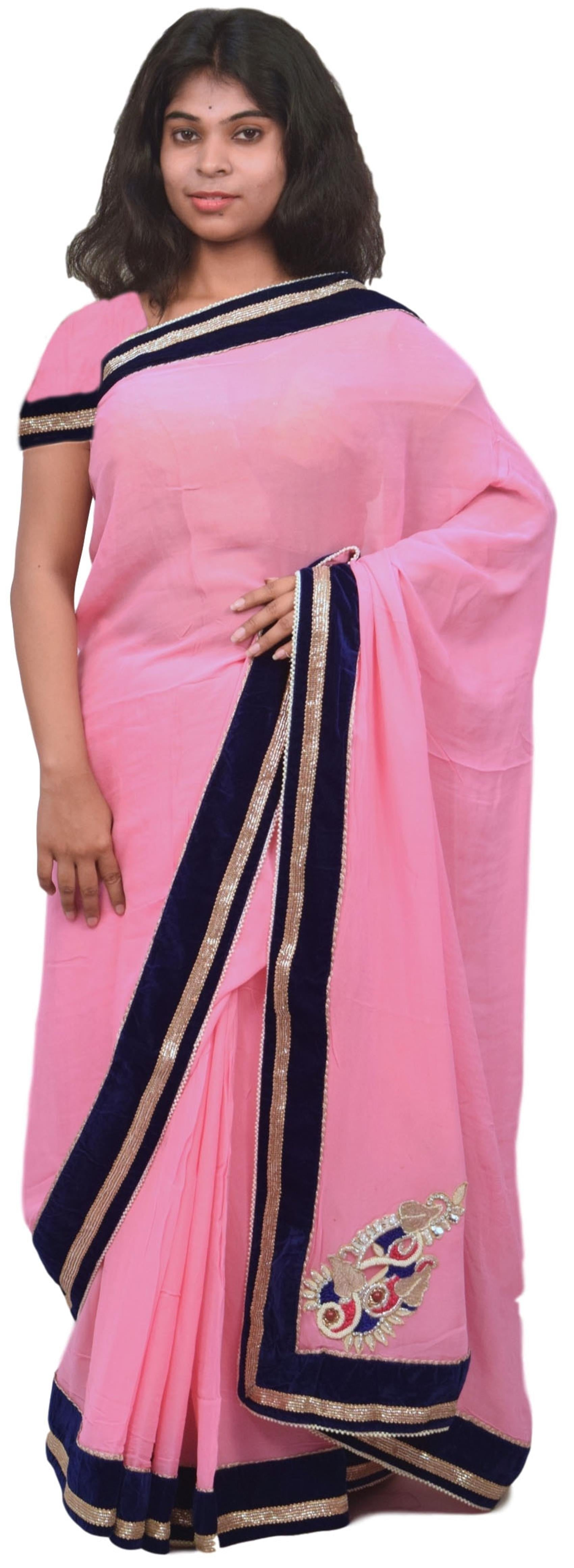 Pink Designer Georgette (Viscos) Zari Bullion Pearl Beads Thread Stone Hand Embroidery Work Sari Saree B236