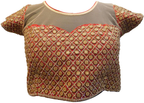 Red & Beige Designer Silk & Net Hand Embroidery Stone Cutdana Beads Work Ready To Wear Stitched Blouse