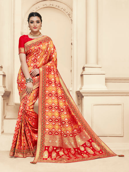 Red & Yellow Jacquard Silk Heavy Work Bridal Banarasi Saree Sari