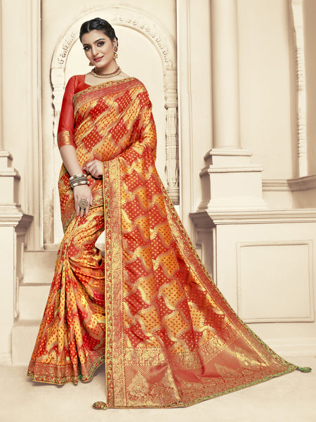 Red and Gold Jacquard Silk Heavy Work Bridal Banarasi Saree Sari