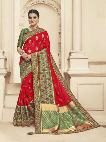 Red and Green Jacquard Silk Heavy Work Bridal Banarasi Saree Sari