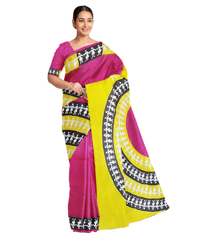 Yellow & Pink Pure Cotton Printed Work Saree Sari