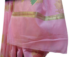 Pink Traditional Designer Wedding Hand Weaven Pure Benarasi Zari Work Saree Sari With Blouse BH102A