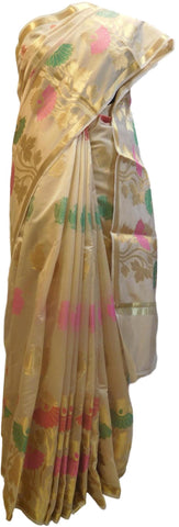 Beige Traditional Designer Wedding Hand Weaven Pure Benarasi Zari Work Saree Sari With Blouse BH102B
