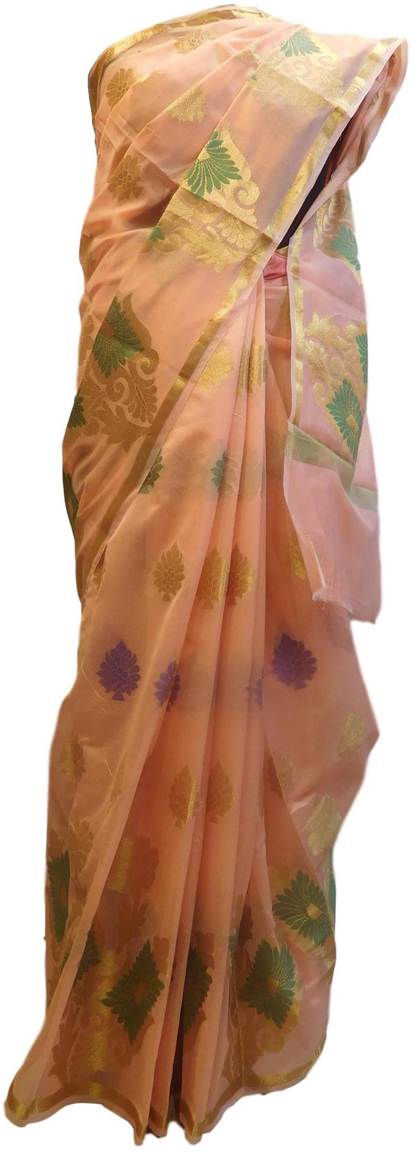 Peach Traditional Designer Wedding Hand Weaven Pure Benarasi Zari Work Saree Sari With Blouse BH102D