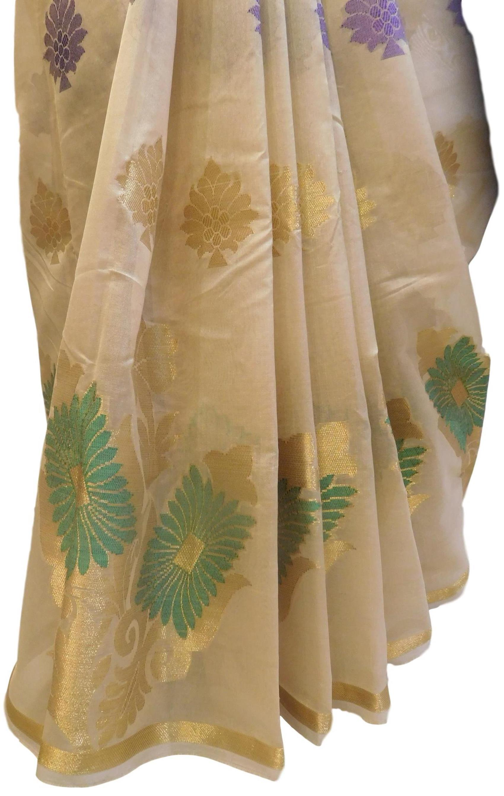 Beige Traditional Designer Wedding Hand Weaven Pure Benarasi Zari Work Saree Sari With Blouse BH102E
