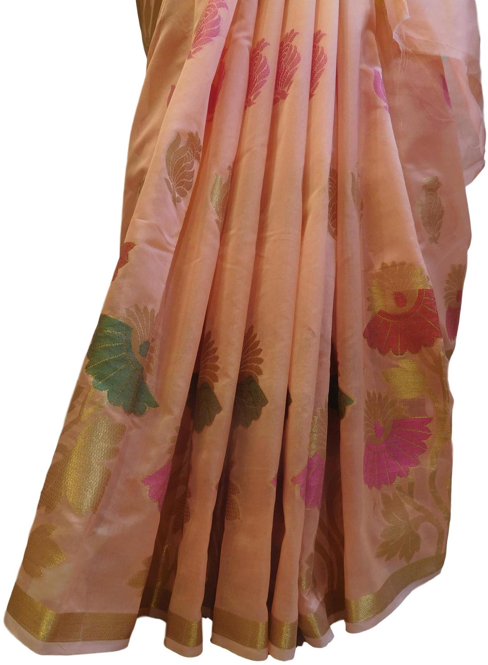 Peach Traditional Designer Wedding Hand Weaven Pure Benarasi Zari Work Saree Sari With Blouse BH102F
