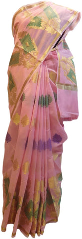 Pink Traditional Designer Wedding Hand Weaven Pure Benarasi Zari Work Saree Sari With Blouse BH102H