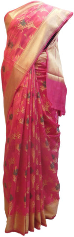 Pink Traditional Designer Wedding Hand Weaven Pure Benarasi Zari Work Saree Sari With Blouse BH103B