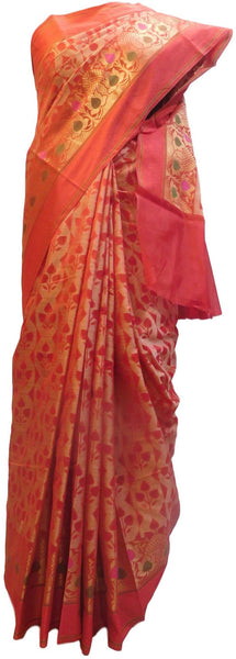 Red Traditional Designer Wedding Hand Weaven Pure Benarasi Zari Work Saree Sari With Blouse BH105D