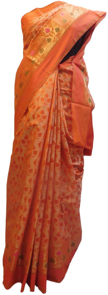 Orange Traditional Designer Wedding Hand Weaven Pure Benarasi Zari Work Saree Sari With Blouse BH105E