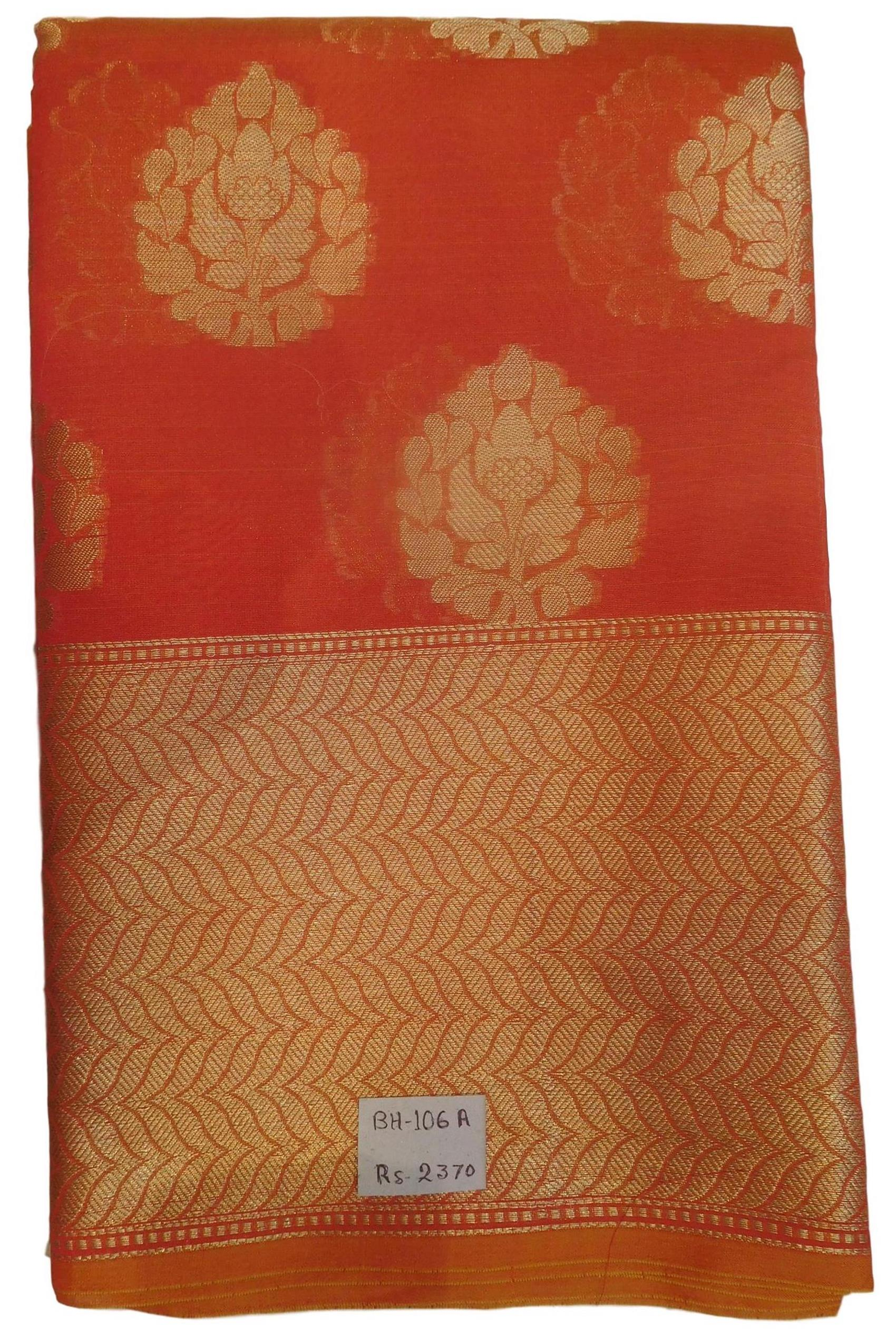 Red Traditional Designer Wedding Hand Weaven Pure Benarasi Zari Work Saree Sari With Blouse BH106A
