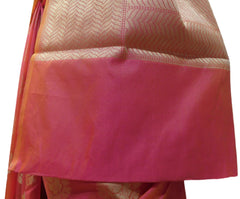 Pink Traditional Designer Wedding Hand Weaven Pure Benarasi Zari Work Saree Sari With Blouse BH106C
