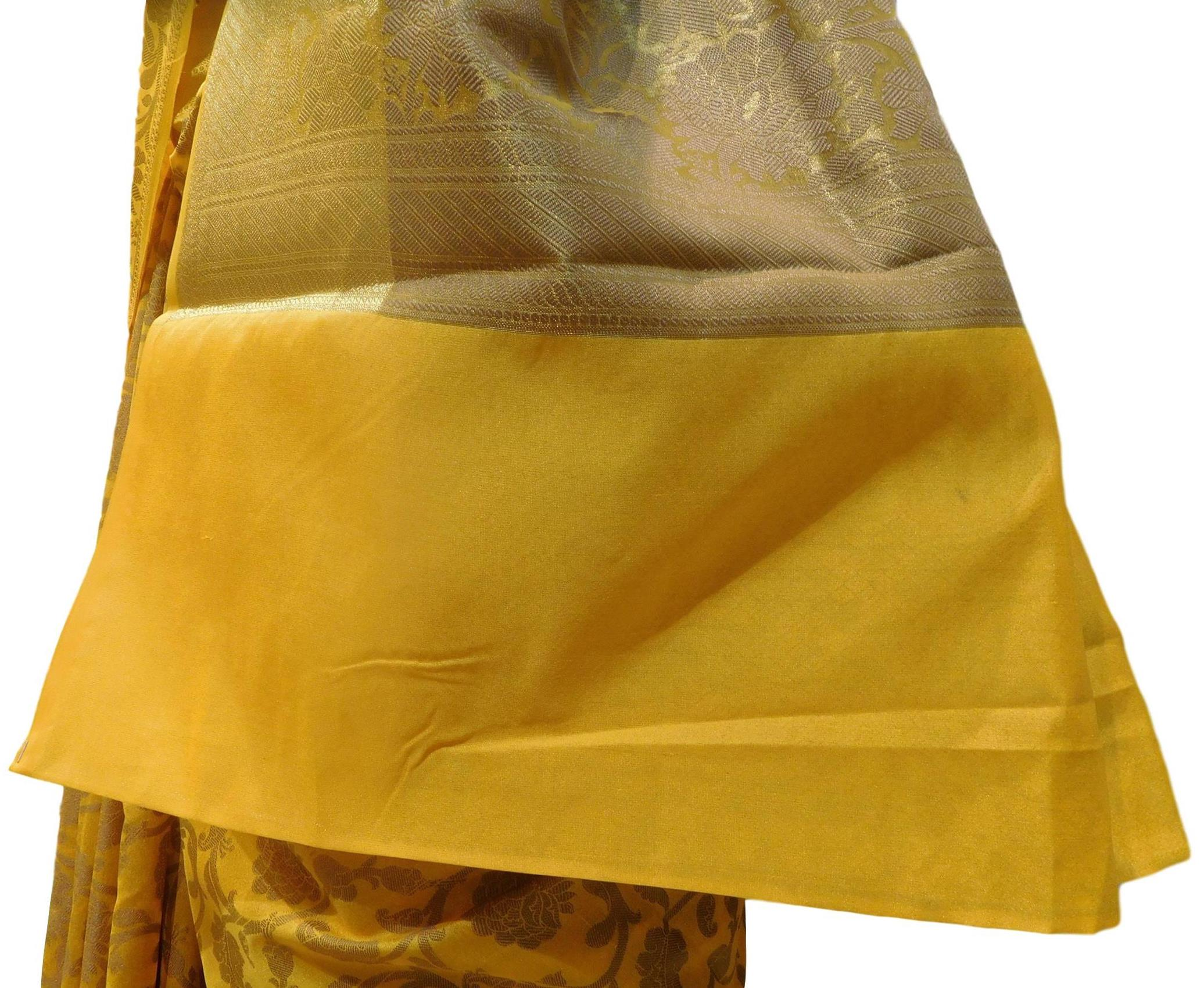 Yellow Traditional Designer Wedding Hand Weaven Pure Benarasi Zari Work Saree Sari With Blouse BH107B