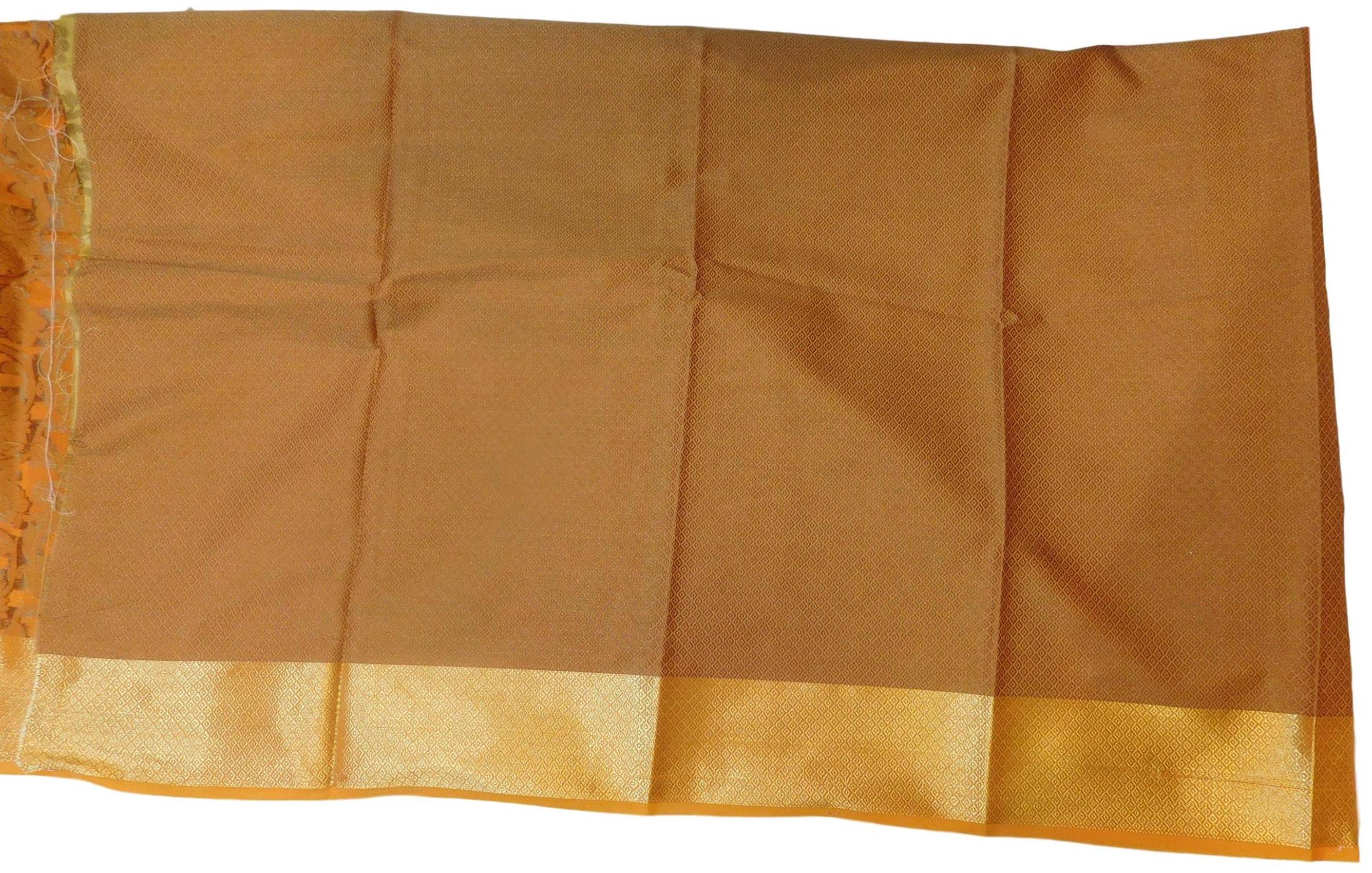 Orange Traditional Designer Wedding Hand Weaven Pure Benarasi Zari Work Saree Sari With Blouse BH107D